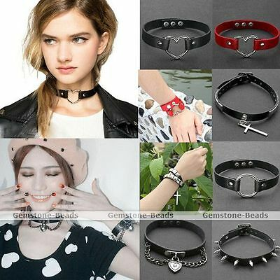 Punk Goth Genuine Leather Rivet Heart Ring Chain Collar Choker Necklace Bracelet