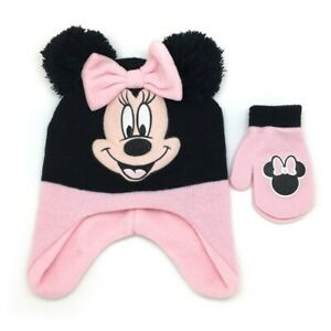 Cute Knitted Beanie Cartoon Mouse Hat Gloves Winte Warmer Set For 12-18 Months Baby Girls Pink