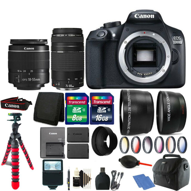 Canon EOS Rebel 1300d DSLR Camera 18-55mm 75-300mm Lens Two Battery Bundle
