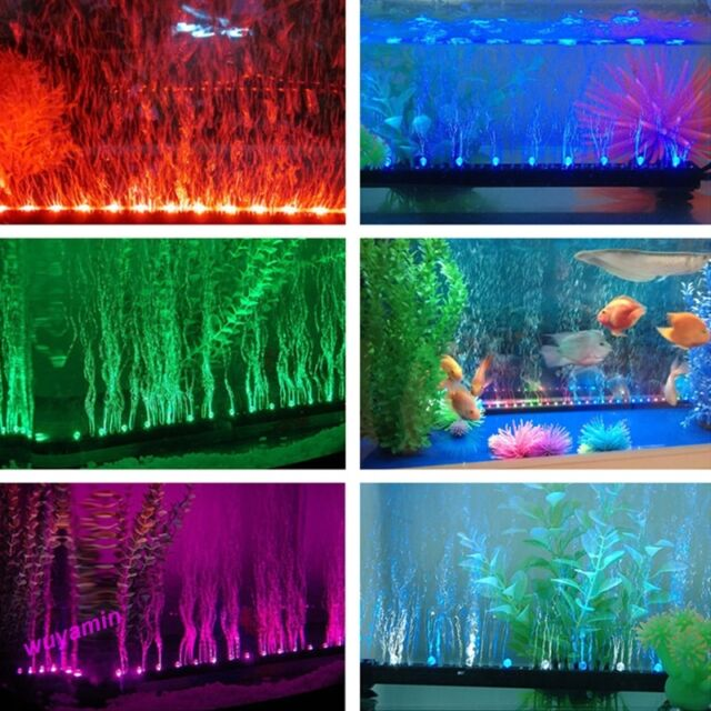 Hot Aquarium Fish Tank Beaming Underwater Submersible Air Bubble Safe LED Lights