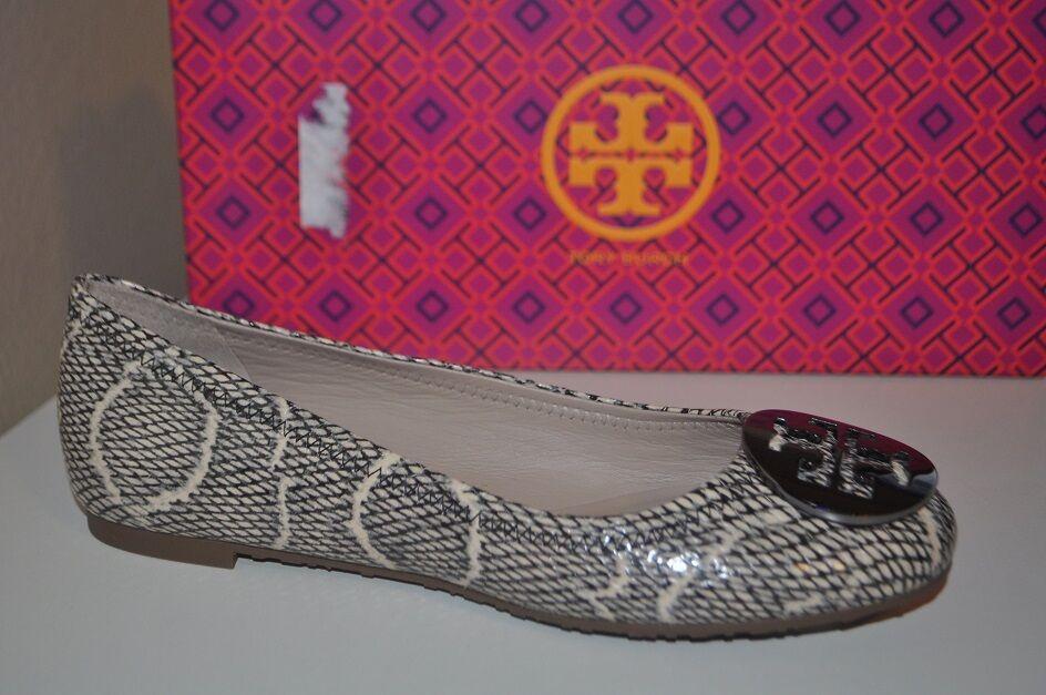 NIB Tory Burch REVA Ballet Flats Cobra Print Black Natural S 5.5 Style  11158609