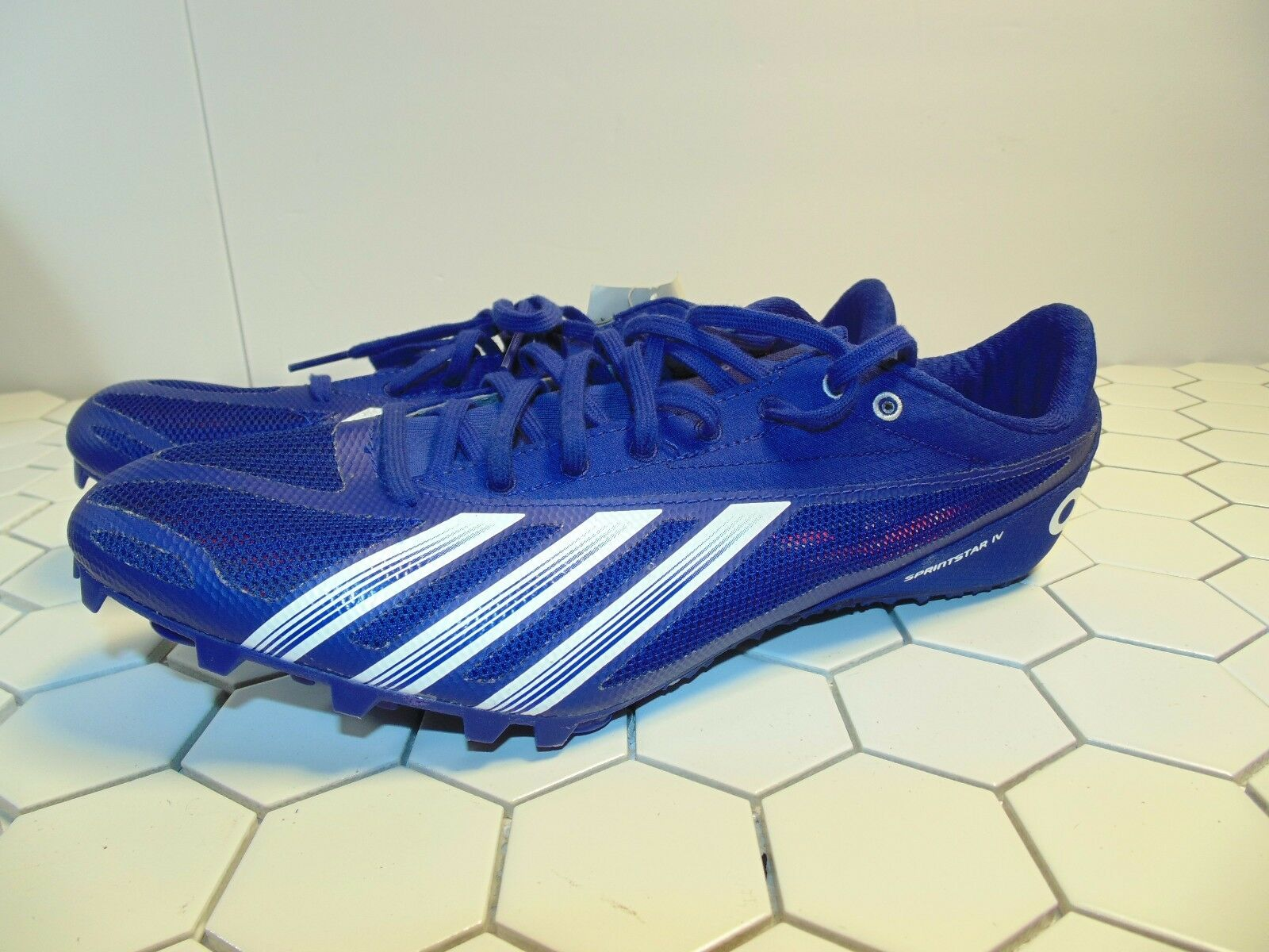 Adidas Sprint Star 4 M B40815 Blue Track & SZ Field Spikes Shoes Men's SZ & 11 7fa8cf