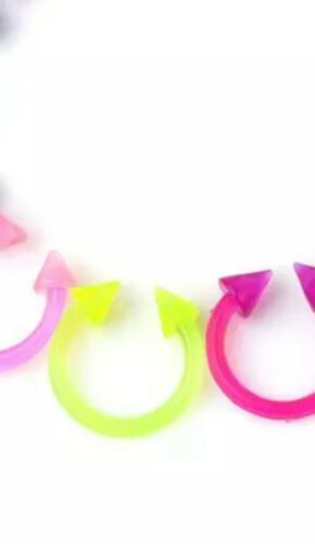 2pc Combo Glow in Dark Coned And Ball 8 mm No Allergy Acrylic Flexible Horseshoe