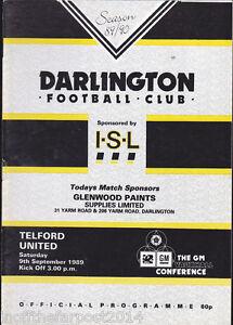 1989-90-DARLINGTON-V-TELFORD-UNITED-09-09-1989-Vauxhall-Conference-Very-Good