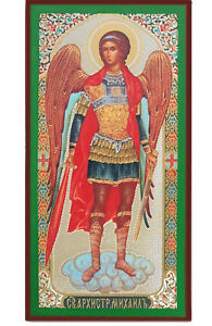 Russian-Orthodox-Catholic-Wooden-Icon-of-Saint-St-Michael-Archangel-5-Inch