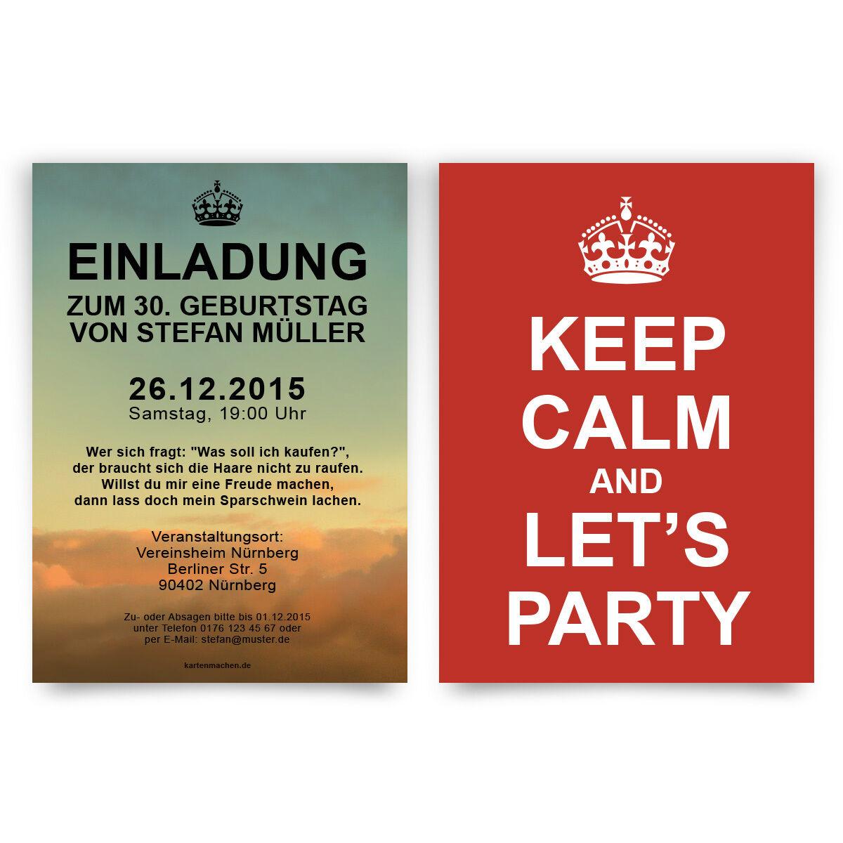 Einladungen zum Geburtstag Keep Calm Party England Einladungskarten