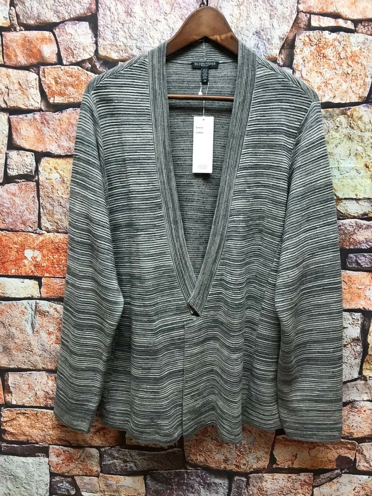 NWT EILEEN FISHER MAPLE OAT TENCEL COTTON SIMPLE CARDIGAN 2X