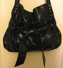 Perlina Black Leather Embossed Snakeskin Shiny Wet Hobo Handbag