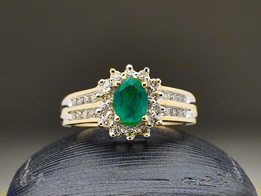 14k Emerald Diamond Halo & Channel Set Ring - size 7