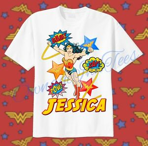 Image Is Loading Wonder Woman Custom T Shirt PERSONALIZE Birthday Comic