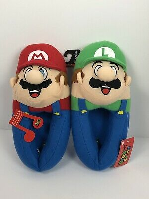 SUPER MARIO BROS LUIGI Plush Musical Slippers NWT Boys