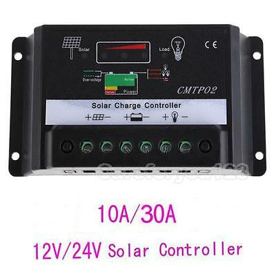 10A/30A Auto Switch MPPT Solar Panel Battery Regulator Charge Controller 12V/24V