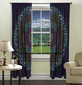 Indian Lots Flower Cotton Mandala Curtain Window Door Drapes Hanging Hippie Boho Bohemian Tapestry Curtains Home Living Room Treatment Set