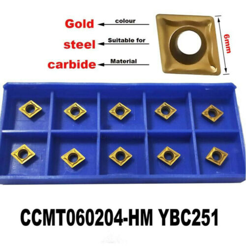 10x CCMT060204-HM YBC251CNC Carbide Tips Inserts Blade Cutter Lathe Turning Tool