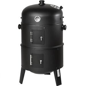 TecTake Barbecue Charbon 3en1 Grille, Fumoir - Noir (400820)