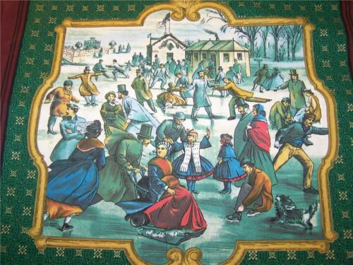 "2 PC THOMAS KINKADE CHRISTMAS WINTER ICE SKATING ACCENT PILLOW SHAM COVER 14/"""