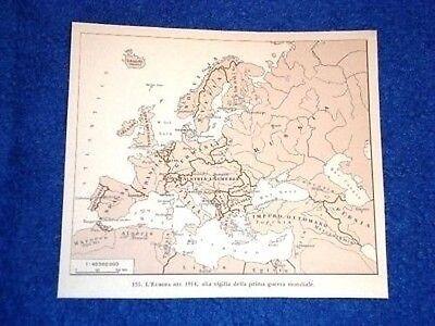 Cartina 1914.Cartina Europa Nel 1914 Vigilia Della Ww1 Prima Guerra Ebay