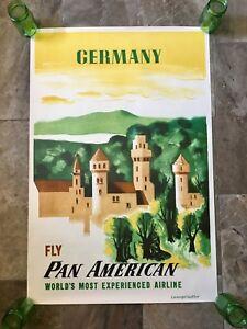 Rare-Vintage-VTG-Original-Pan-Am-American-Germany-Travel-Poster-Mid-Century-HTF