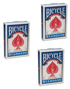 Standard-Bicycle-Rider-Back-Poker-Playing-Cards-3-Decks-Blue