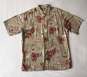 Moda Campia Mens Hawaiian Button Shirt Pin Up Models Floral Vacation Size Medium