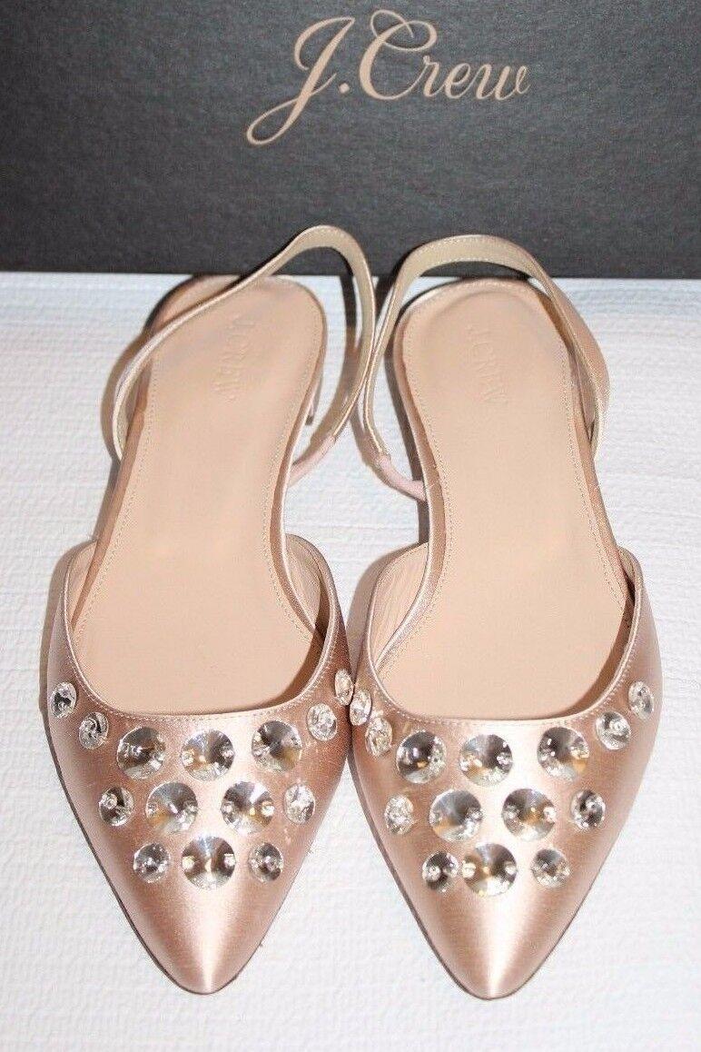 JCrew Embellished $178 Embellished JCrew Satin Slingback Flat SZ 8 G7995 Faded Blossom /Pink Shoes a6dd8a