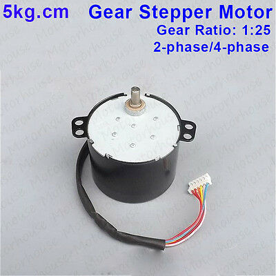 DC 12V Gear stepper motor 2-phase 4-wire 4-phase 5-wire stepping 0.5A 5kg.cm