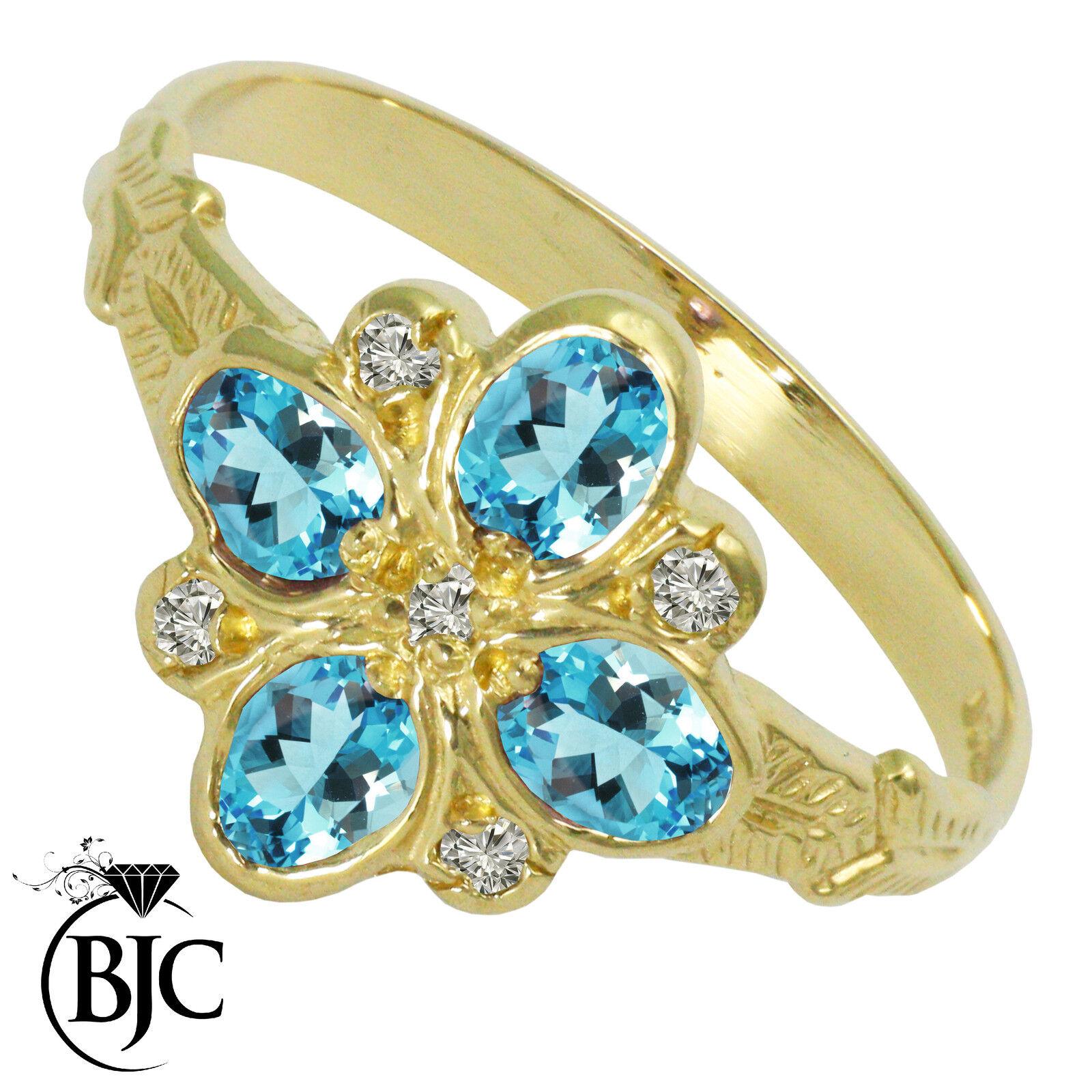 BJC® 9ct Yellow gold bluee Topaz & Diamond Art Deco size O engagement ring R204