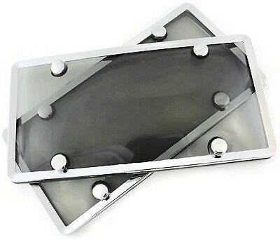 2 Qty Smoked Bubble Cover with Chrome Plastic License Plate Protection Frames