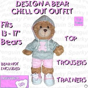 DESIGN-A-BEAR-CHILL-OUT-OUTFIT-TOP-TROUSERS-TRAINERS-CLOTHES-COSTUME-BUILD-TEDDY