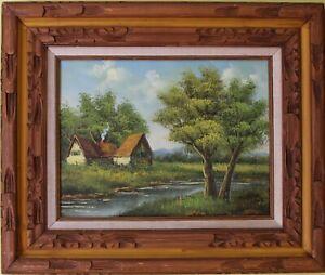 Original-Vintage-oil-painting-on-canvas-landscape-signed-Lester-framed