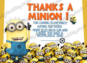 8 X Minion Despicable Me Birthday Thank You Cards Pack Thick Cards