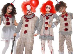 Vintage Clown Costume Adults Kids Halloween Horror Scary Fancy Dress