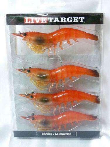 """Live Target Lures Koppers Shrimp Slow Sinking 4/"""" Pink Shrimp 4 Pk SSF100SK915"""