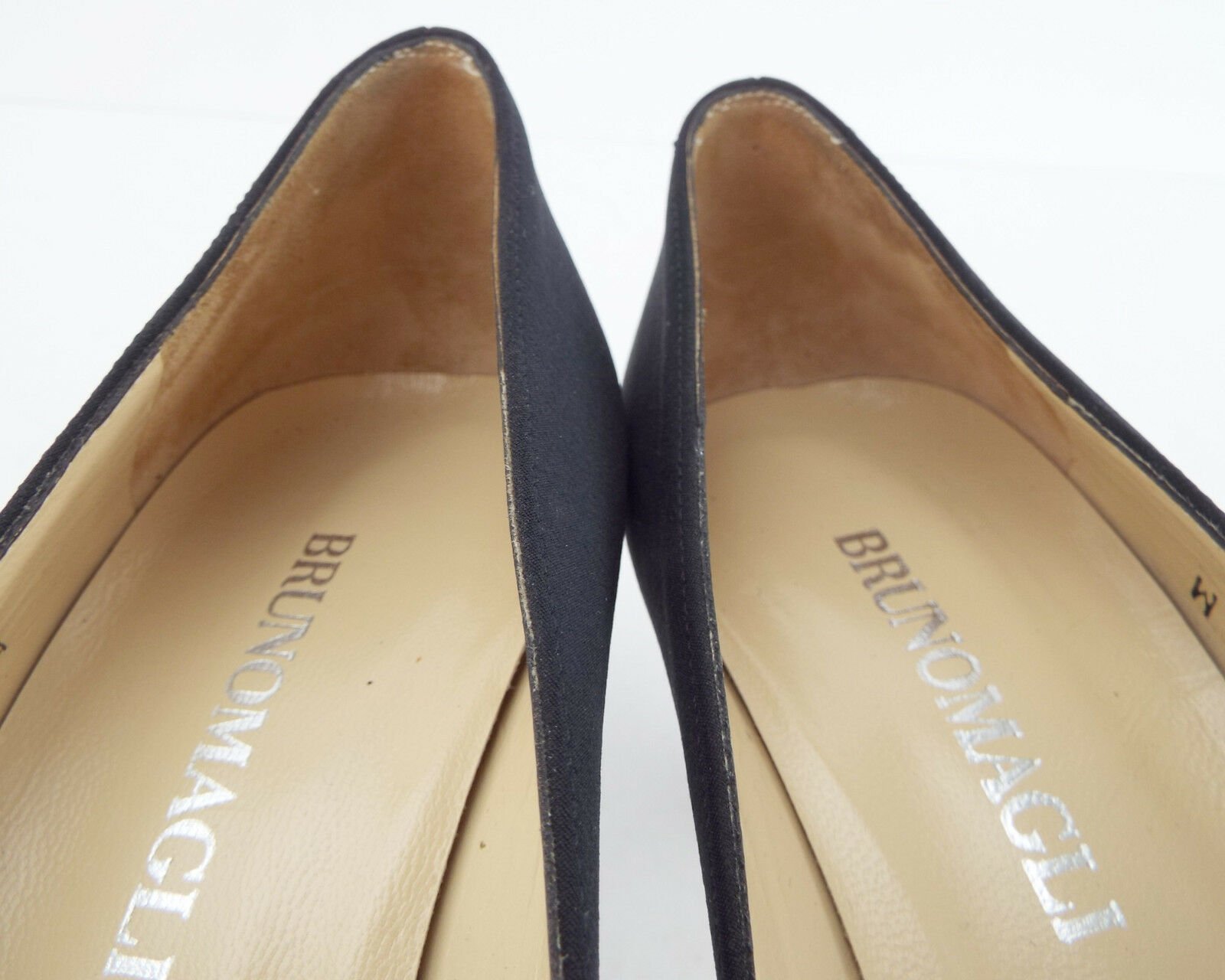 BRUNO MAGLI Size Size Size 7.5 AA Narrow NOVATI Black Fabric Open Toe Heels Pumps shoes 1a33eb