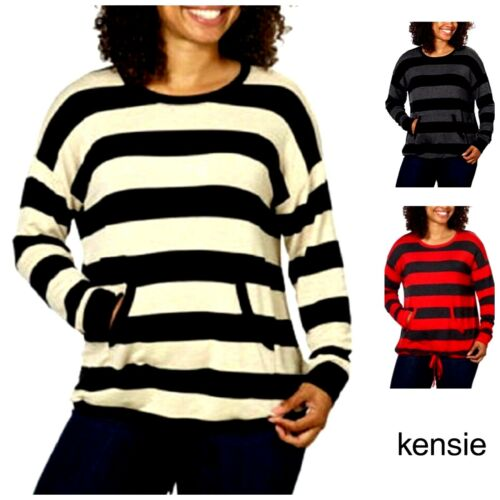 NEW Women/'s Kensie French Terry Crew Pullover Sweater Striped M252