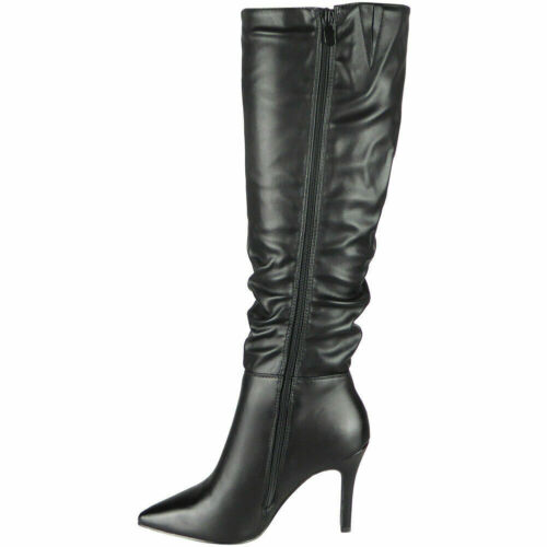 Womens Mid Claf Boots Ladies Stiletto High Heel Rouched Long Slouch Shoes Sizes