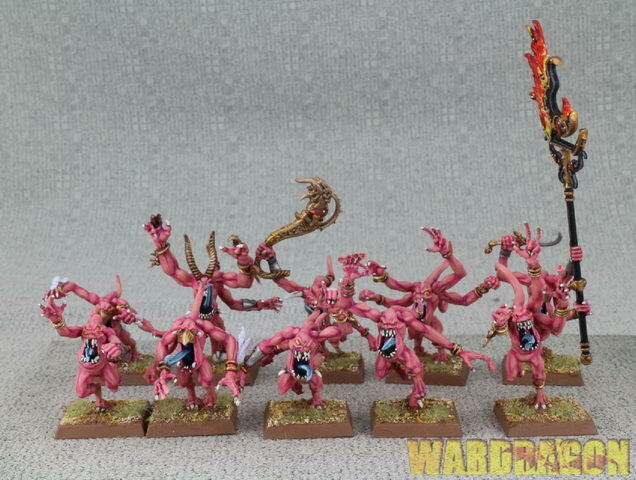 32mm Warhammer WDS painted Chaos Daemons Daemons Daemons Pink Horrors of Tzeentch h16 b4dc0a