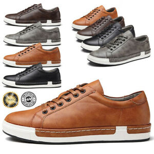 Men-039-s-Casual-Genuine-Leather-Work-Shoes-Lace-up-Sneakers-Oxford-Breathable-Flats