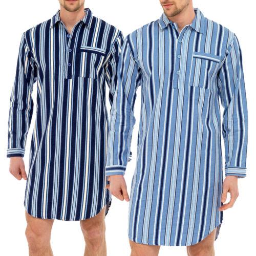 Mens Traditional Nightshirt Flannel PJ Pyjama Night Shirt Wear Pyjamas Cotton