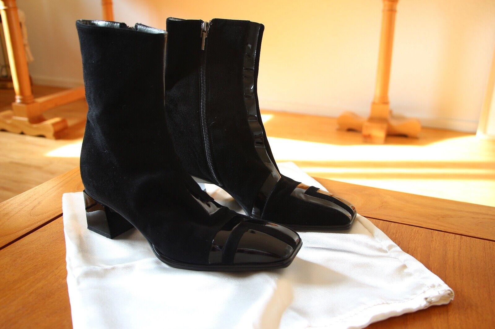 Sandro Vicari Venezia Stiefelette Leder Lack schwarz Größe 37 NEU&OVP