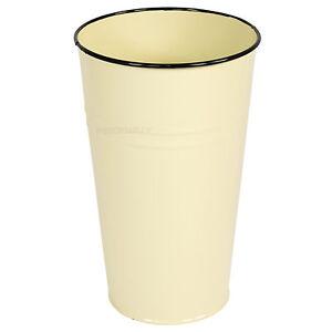 22cm-Cream-amp-Black-Vase-Enamel-Shabby-Chic-Vintage-Home-Retro-Flower-Plant-Pot