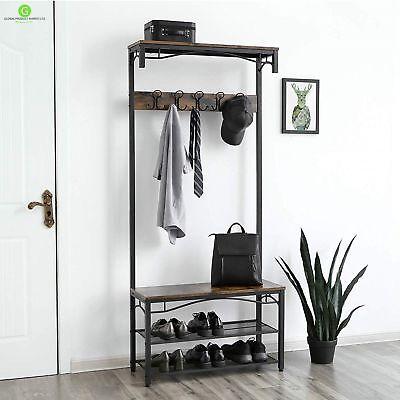 Pleasant Industrial Coat Rack Stand Bench Hallway Furniture Shoe Storage Shelves Hanger 34656037110 Ebay Download Free Architecture Designs Rallybritishbridgeorg