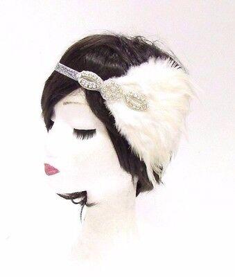 Blanc Ivoire Silver Pearl Feather 1920 S Headband Great Gatsby Garçonne Vintage 0013