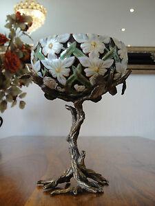 Prunkschale-Prunkvase-Porzellan-Bronze-Vase-Schale-Edel-Jugendstil-Antik-Floral