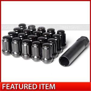 20PC BLACK SPLINE TUNER LUG NUTS 12X1.5 ANTITHEFT KEY FITS JEEP
