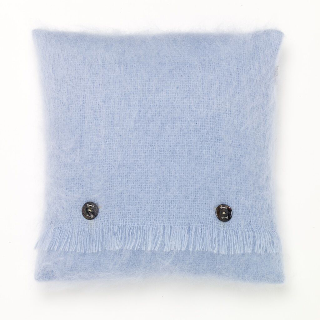 LUXURIOUS MOHAIR  - feather filled BRONTE cushion - PARADISE blueE