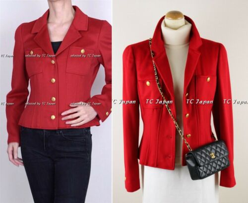 CHANEL 96A 96F Vintage Red Cashmere 100% Gold CC L