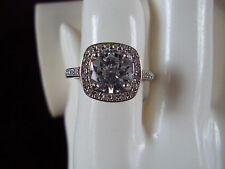 Genuine White Sapphire 9mm 18K white gold over Sterling Silver Ring size DS-4065