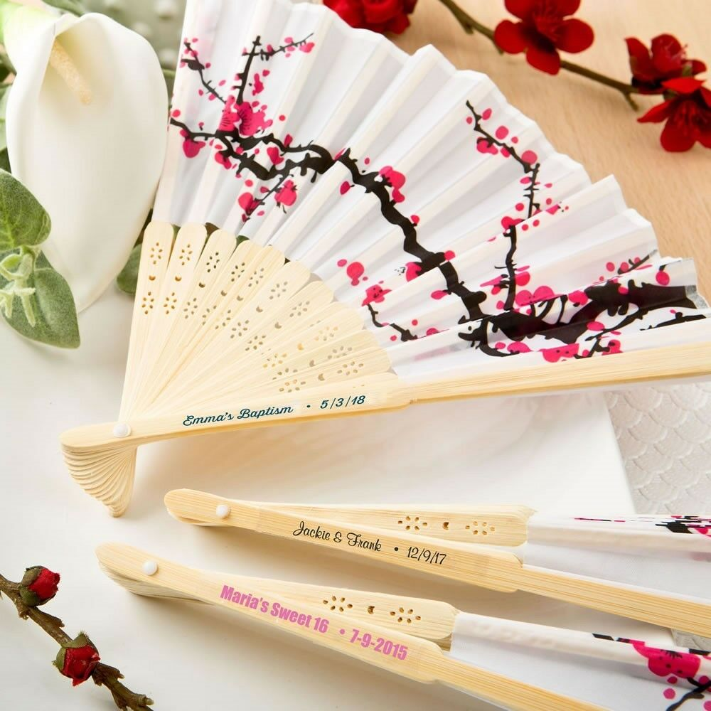 50 Personalized Cherry Blossom Silk Fans Wedding Bridal Baby Shower Party Favors
