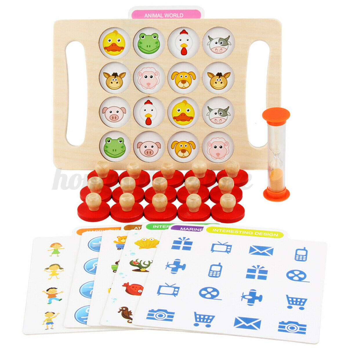 Montessori Memory Chess Teaching Wooden Games Kids Educational Learning Toy 6